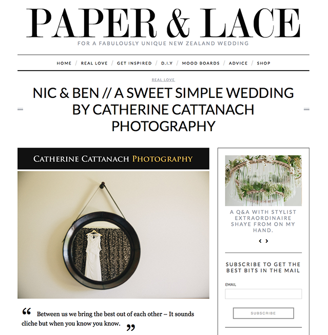 Nic and Ben featured on Paper and Lace