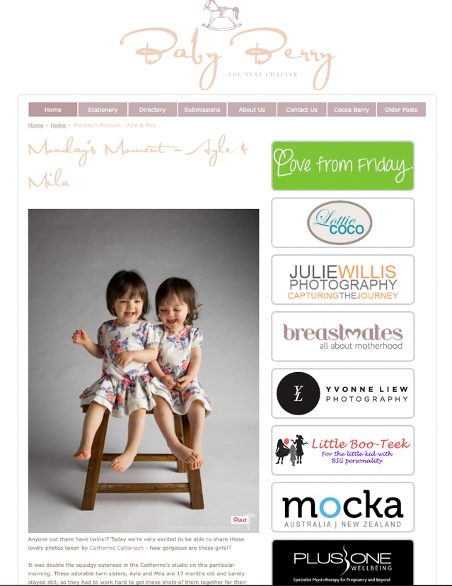 Twins featured on Baby Berry