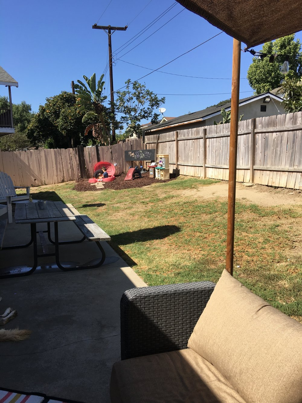 Kids Zone - It's fun to make zones in spaces, especially yards.So that pic was one I took right after I set up the kids area. Now it has a huge sun sail over top to shade them while they play. It has direct sunlight much of the day so I needed them to be protected too.