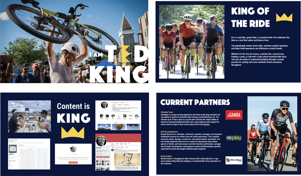 Some of the  sponsorship deck slides  that I created along my  brand guidelines.