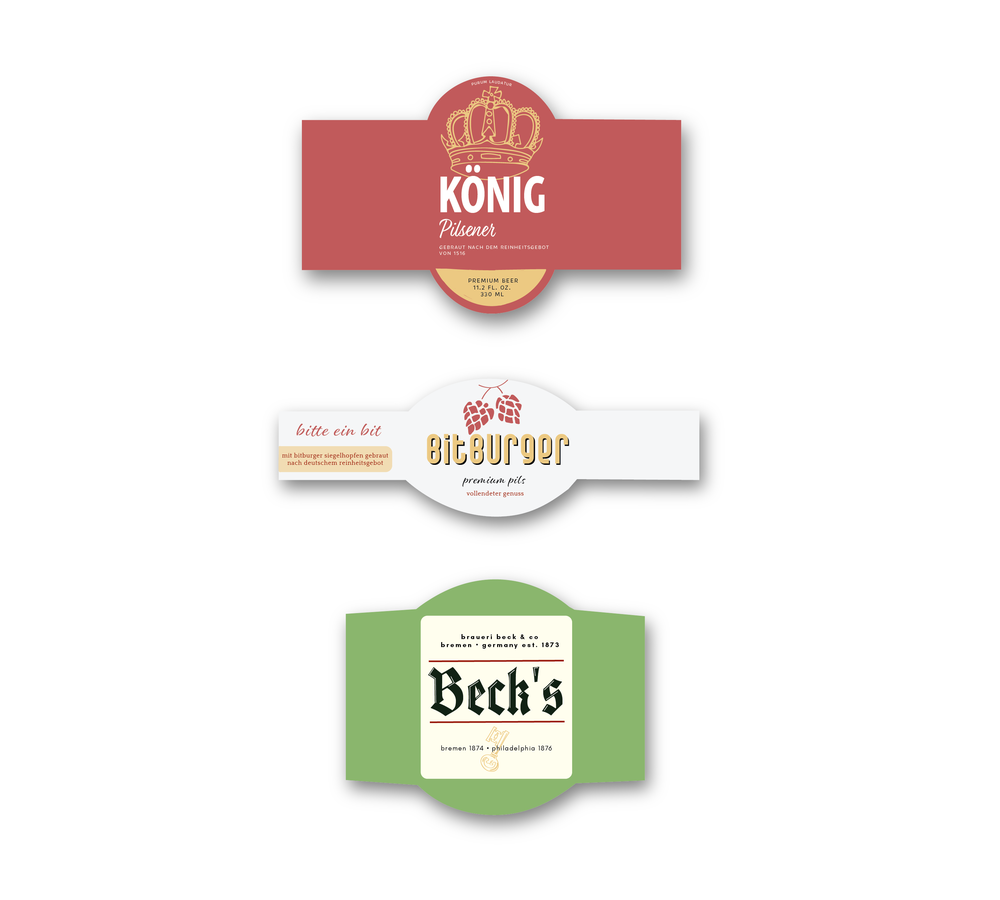 These are the  final label designs  that I created for traditional German beer companies.