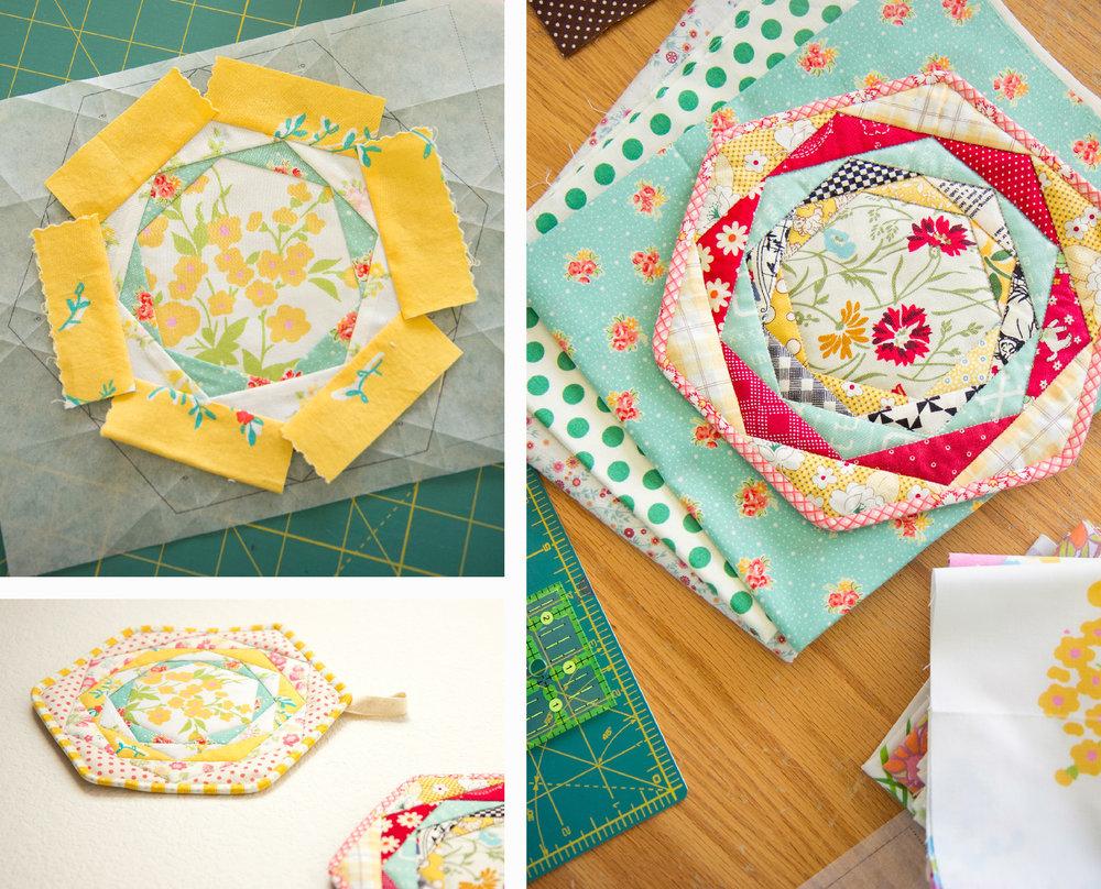 hexagon trivet collage