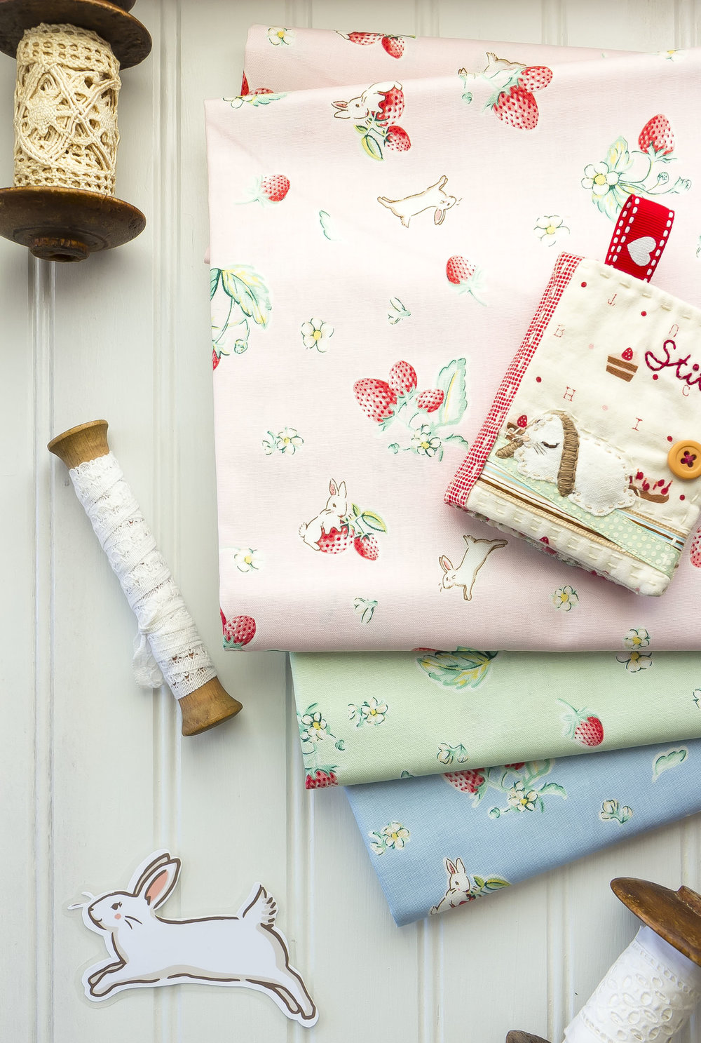 bunnies and cream-strawberry fabric