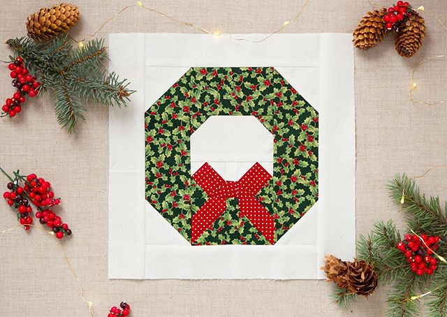 "Yay! The last custom block for my #AnneofGreenGablesChristmas quilt is all done! I used @ellisandhiggs wreath pillow pattern that you can find in her shop for my last block. I did a little math and made the block smaller to fit the 11"" blocks I've been making. I love putting the pillow up I made at Christmas time in our living room- so cute! • • • #anneofgreengableschristmas #christmasquilt #quiltblock #rileyblakedesigns #iloverileyblake #anneofgreengableschristmasfabric #anneofgreengableschristmasquilt #sewing"