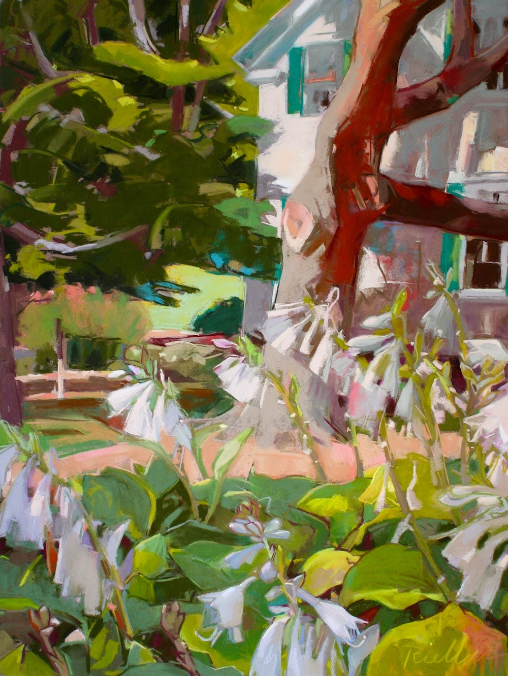"Pastel Landscape - ""Hostas and the Lape House, July"" 24"" x 18"" pastel on sanded paper"