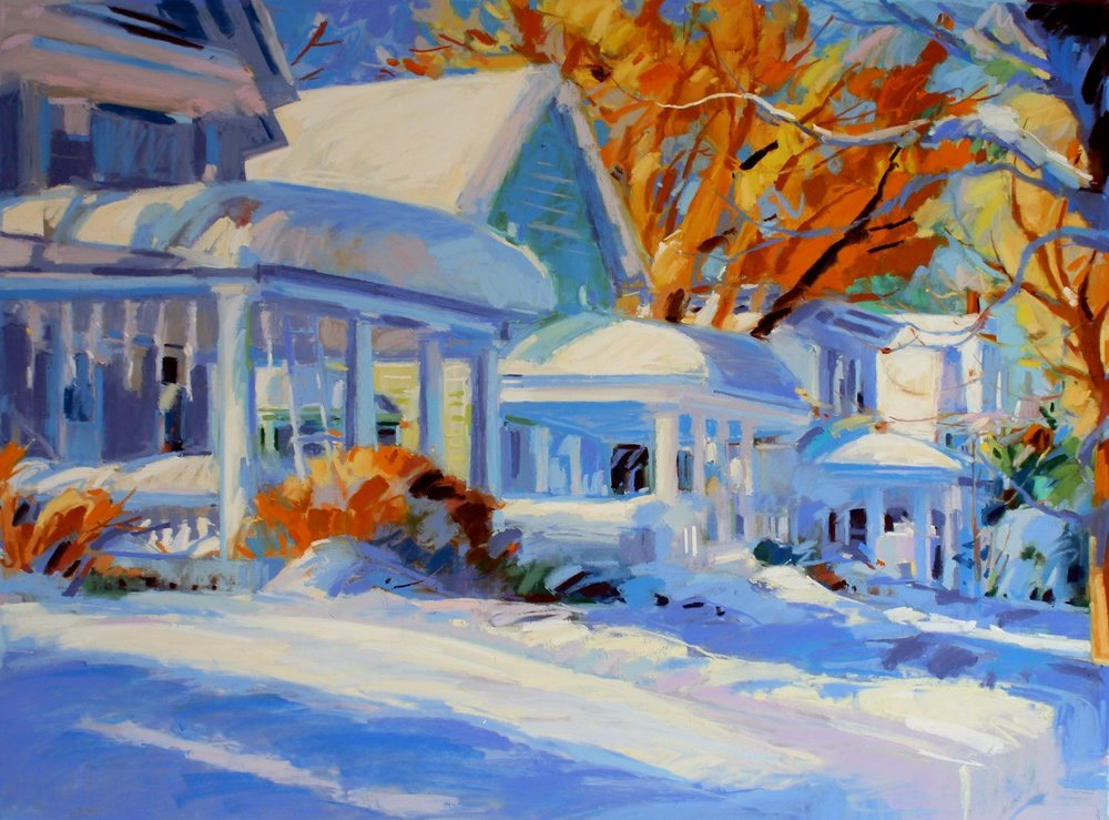 "Houses in the Snow, Altamont  , 25"" x 31"" matted and framed pastel by Mary Ellen Riell"