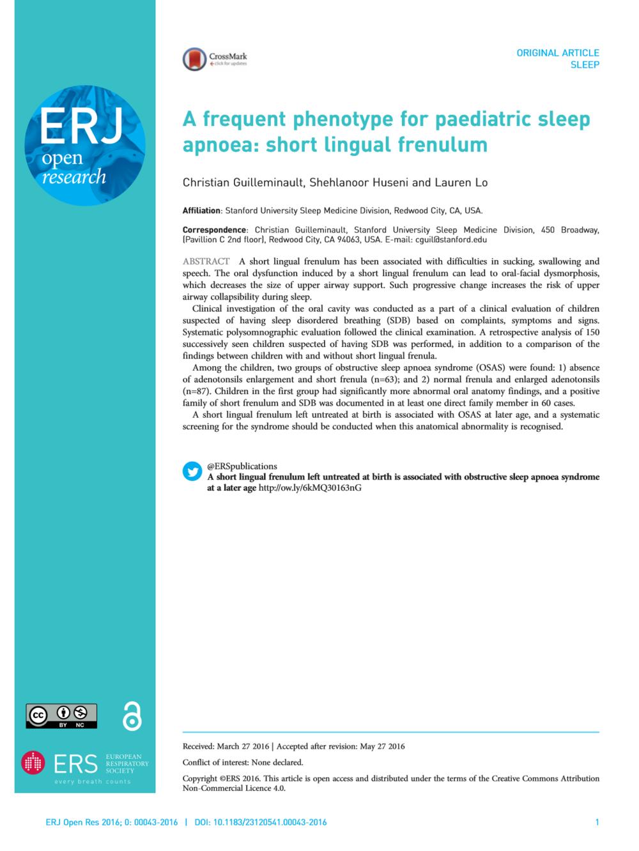 Pediatric Sleep Apnea & Tongue Tie