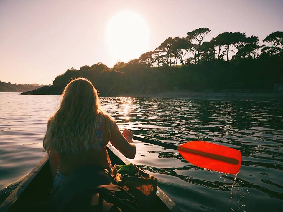 woman Kayaking with a sunset, Katy Griffin, Thera-Sea, Cornwall