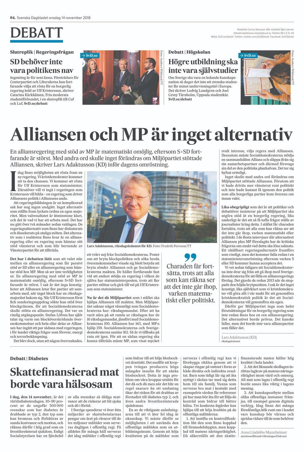Pressklipp - En stor del av Frisk mats mission är att driva opinion kring vikten av att vår skattefinansierade mat är näringsrik, smakar gott och ser aptitlig ut. Här finner ni ett urval av de artiklar som vi fått publicerade i svensk press.