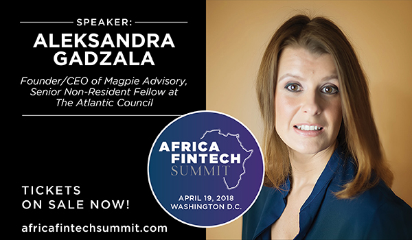 Aleksandra at the 2018 Africa Fintech Summit in D.C.