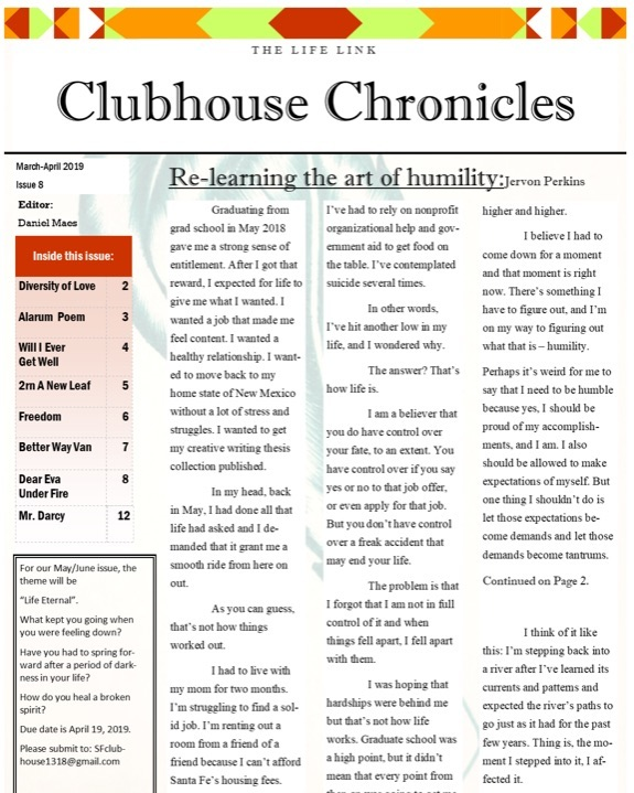Check our this month's issue of The Clubhouse Chronicles!  This publication is designed, created, and distributed by Clubhouse members and is an example of one of the many activities done there to foster interaction, engagement, recovery, learning, and community.  _______________ Special thanks to Daniel, the editor in chief of The Clubhouse Chronicles for all his hard work, commitment, and creativity!  ________________ #clubhouse #community #recovery #wellness #bettertogether #nonprofit #thelifelink #wearethelifelink