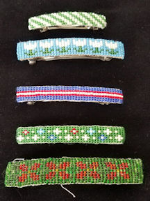 First Works: Loomwork Barrettes, 1995. Created by Melanie T. Robbins. Well worn by the Robbins Girls. In the Straybeads Collection.