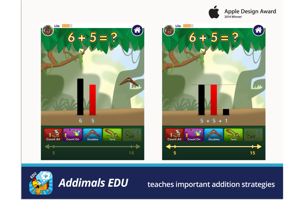 Addimals EDU teaches important addition strategies