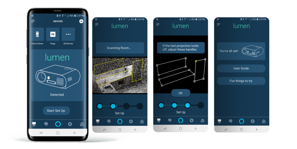 Amazon Lumen Onboarding screens, showing the initial set up of the device, 3D scanning of the environment, manual adjusting of the results of the scan, and a welcome screen