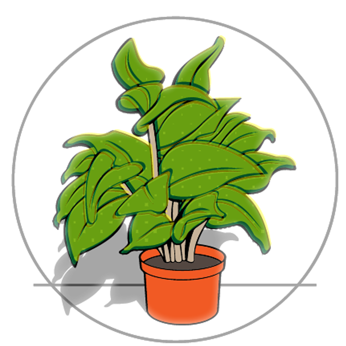 An illustration showing light mapped onto a house plant in an orange pot.