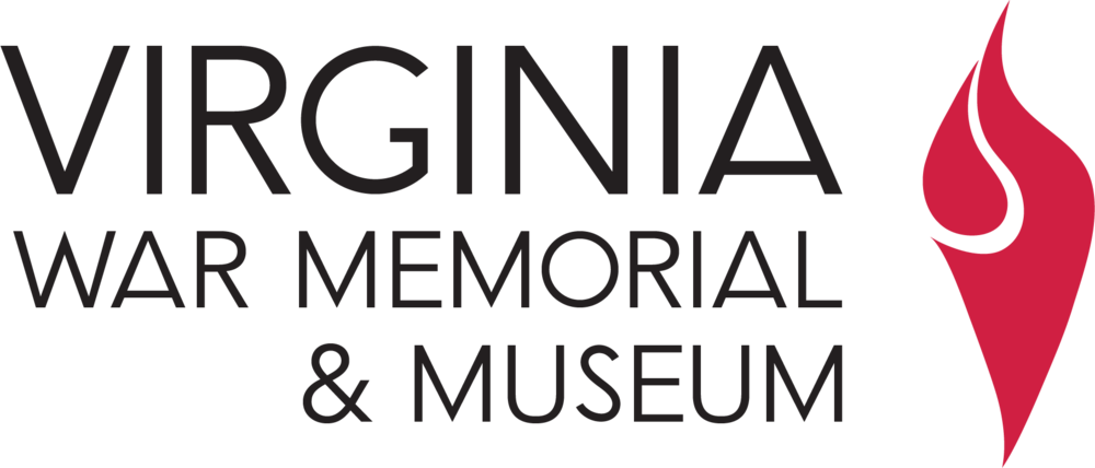 Virginia War Memorial & Museum word mark and logo - a red flame depicting memory