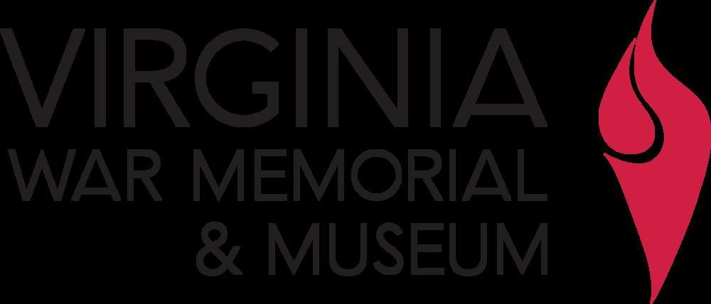 Virginia War Memorial & Museum word mark and logo - a red flame depicting memory