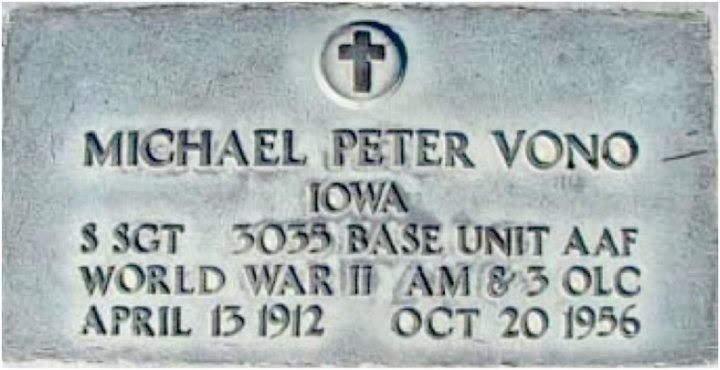 The gravestone of Michael Peter Vono