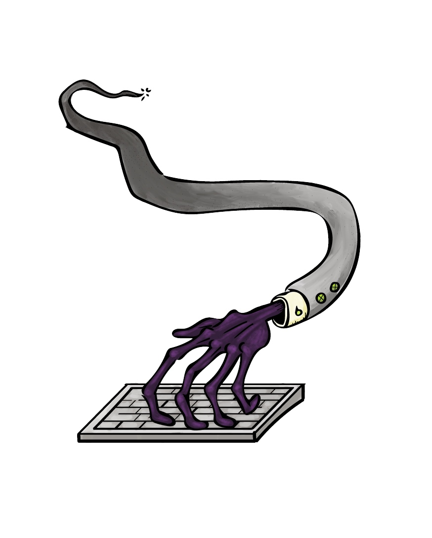The Meddler - A terrifying arm of seemingly infinite length, at the end of which sprout many fingers of unnatural articulation, the Meddler can appear at any time and from seemingly any place to interfere with the designer's work.It cannot be killed, but it can be distracted by flattery.