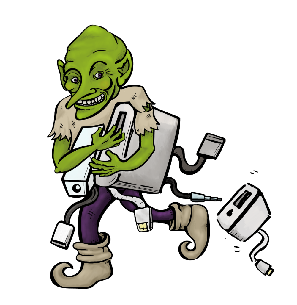 The Dongle Goblin - The inattentive designer will find this dastardly little fellow has made away with the adaptors and dongles that are the lifeblood of a collaborator. The Dongle Goblin is suspected to use its bounty to build nests.Partial to apples, but infuriated by clouds.