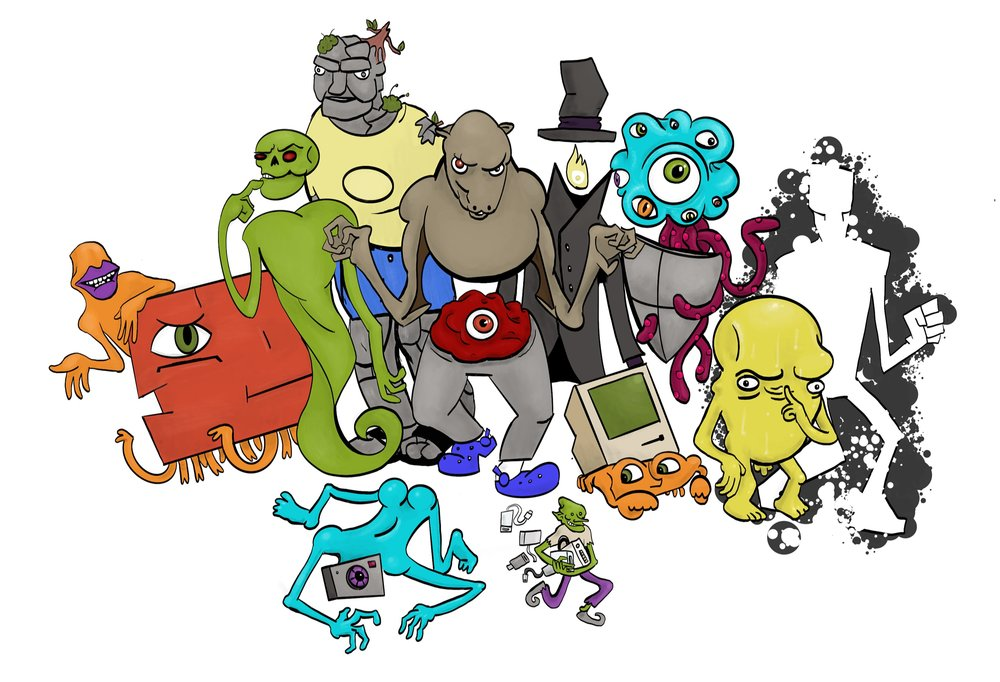 A drawing of many multi-colored monsters