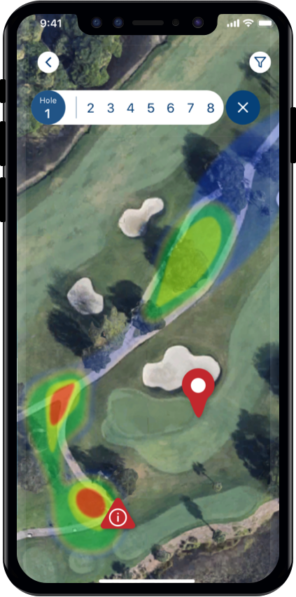 a phone screen showing a heat map