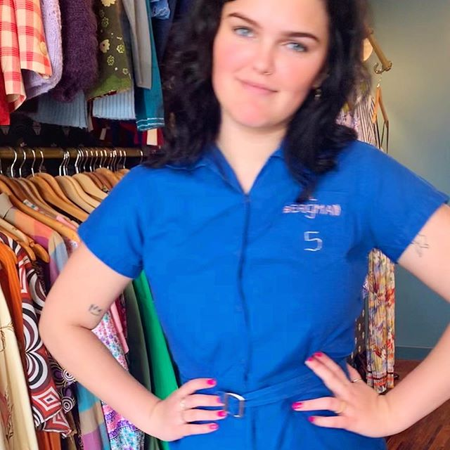 Playsuit time! This workwear one is just the ticket for a day like this! Bright royal blue with embroidery 'L Bergman 5'. In store now @broadwaymarket