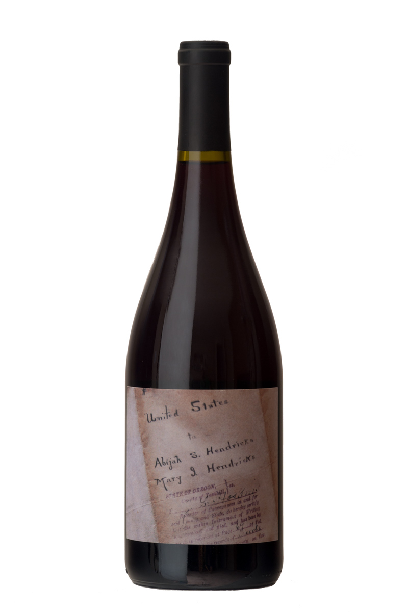 2016 Hendricks Legacy Pinot Noir - This Pinot Noir honors the legacy of Ruby co-owner Steve Hendricks' great-great-grandfather, Abijah Hendricks, a pioneer on the first wagon train on the Oregon Trail in 1843. The wine was made from grapes from Timbale & Thyme Vineyard, situated within the 640 acre parcel homesteaded by Abijah and Mary Jane Hendricks. Its label bears the land deed originally granted to the Hendricks Family.$40