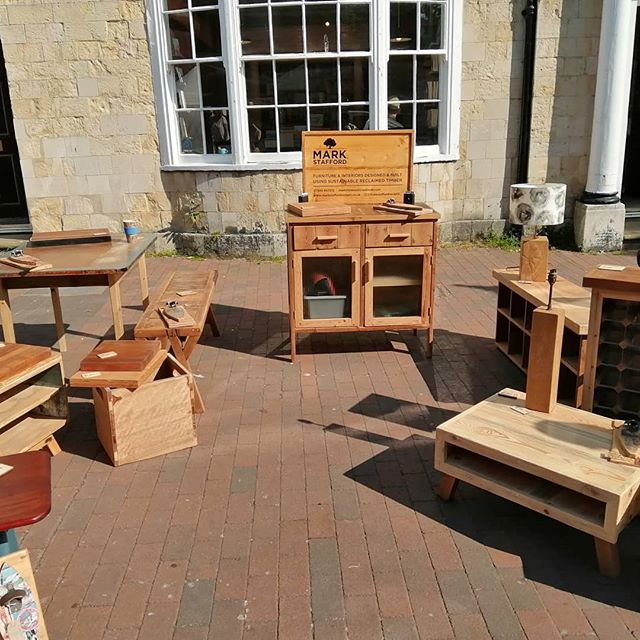 First warm market of the year. Happy Easter. #reclaimedwoodfurniture