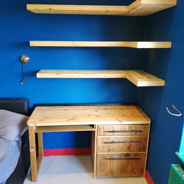 Desk and floating shelves #reclaimedtimber #handmadefurniture