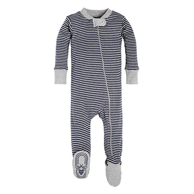 Burt's Bees Baby - Baby Boys' Sleeper Pajamas, Zip Front Non-Slip Footed Sleeper PJs, 100% Organic Cotton - $12.95