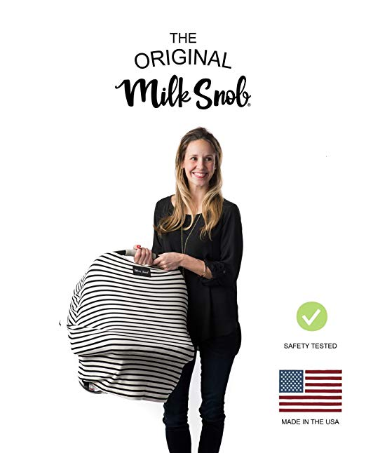 """AS SEEN ON Shark Tank The Original Milk Snob Infant Car Seat Cover and Nursing Cover Multi-Use 360° Coverage Breathable Stretchy""""Milky Stripe"""" - $36.00"""