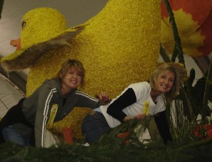 Sherrie and friend Sandra working hard placing millions of flowers.