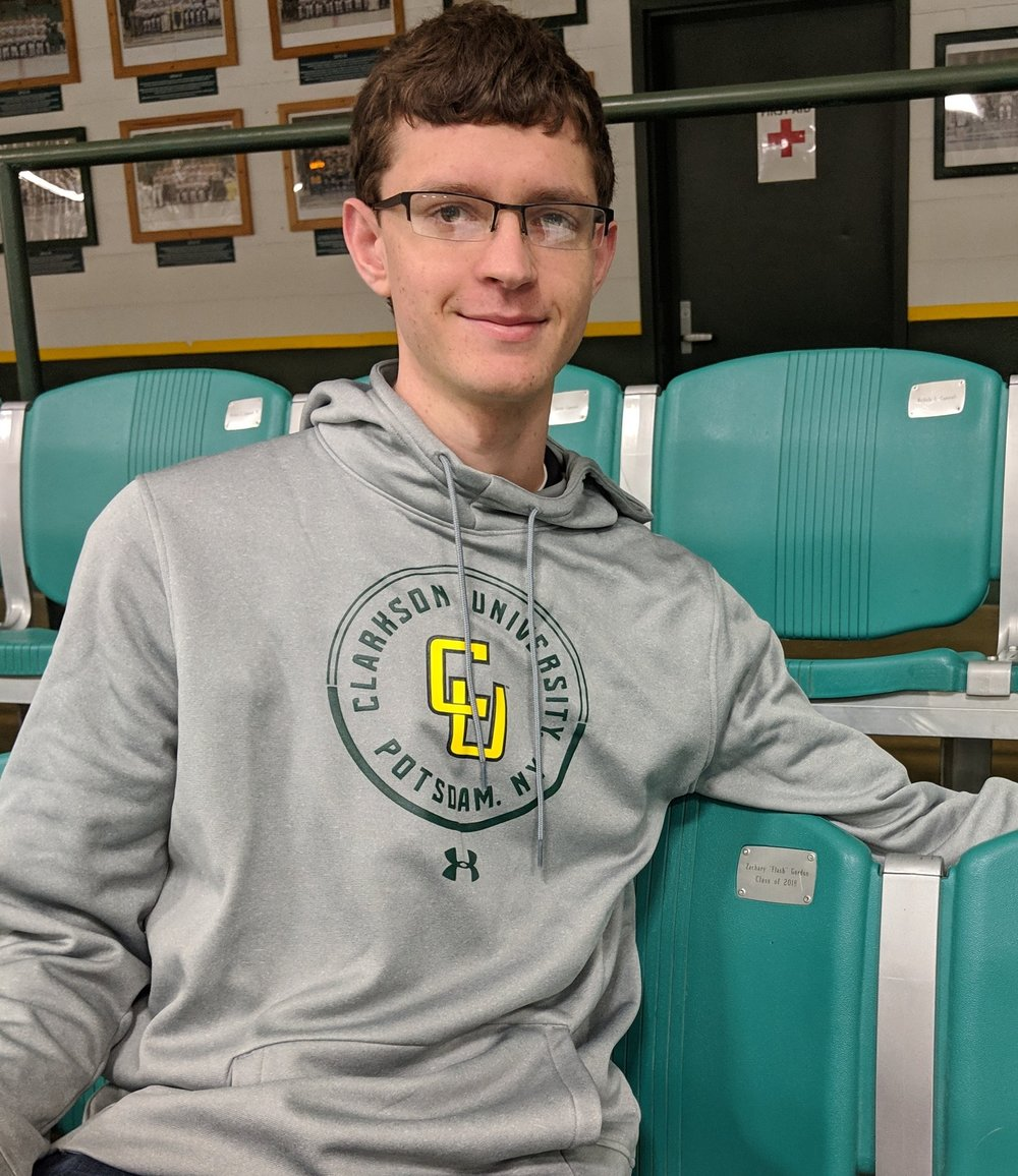 """Zachary """"Flash"""" Gordon '18 sits in his sponsored seat at Cheel Arena: Section 21, Row H, Seat 4. You, too, can """"take a seat"""" at Cheel:  development.clarkson.edu/cheel  ."""