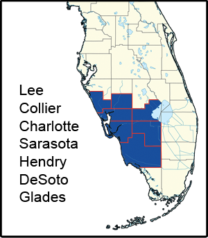 Emergency Service Area Including Naples, Fort Myers, Charlotte, and Sarasota.