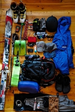 A typical contents for an overnight Hut Skiing Pack