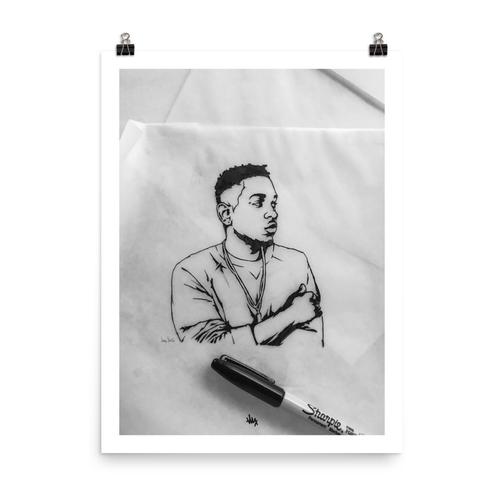 'Kendrick' - Kendrick Lamar Portrait Illustration by MxMnr - Ink on Paper