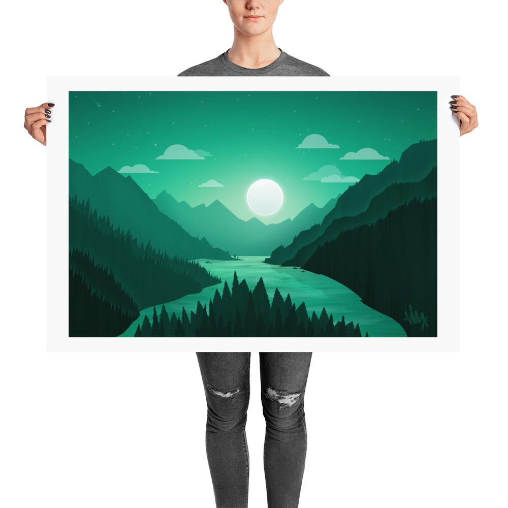 Moon Over Mountains - Flat Landscape Illustration