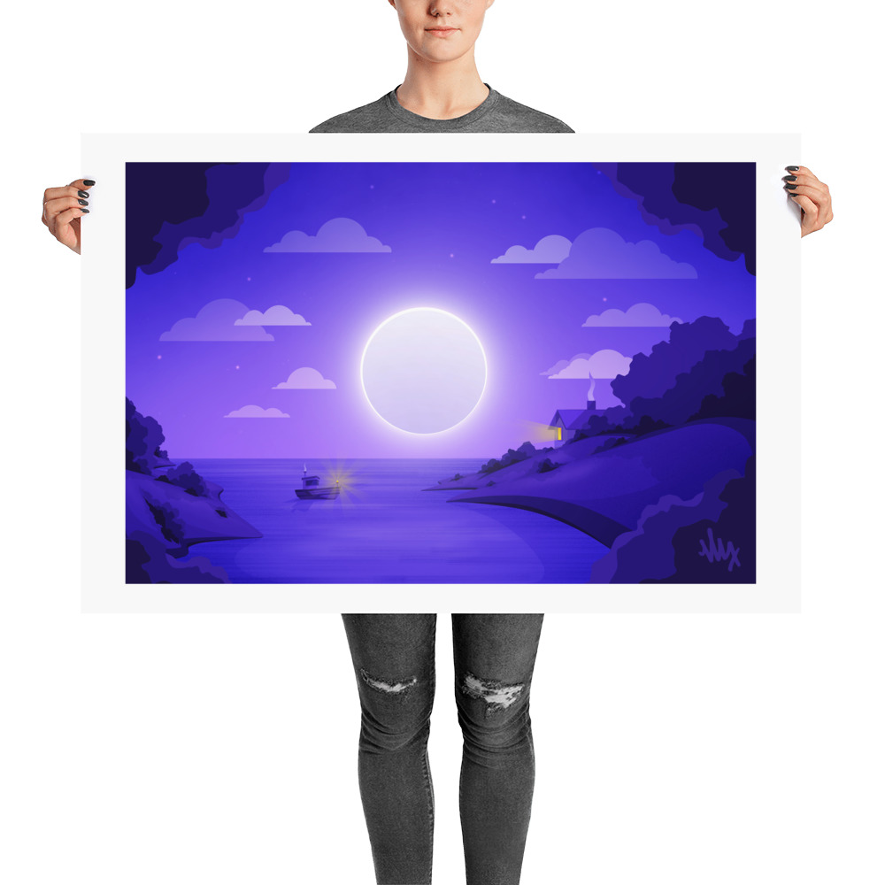 Full Moon - Flat Landscape Illustration