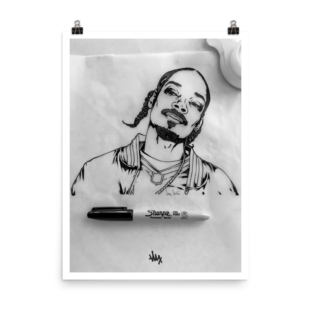 Snoop Dogg Portrait Sketch by MxMnr - Ink on Paper