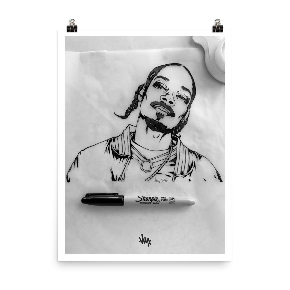 Snoop Dogg Portrait Sketch by MxMnr - Ink on Paper