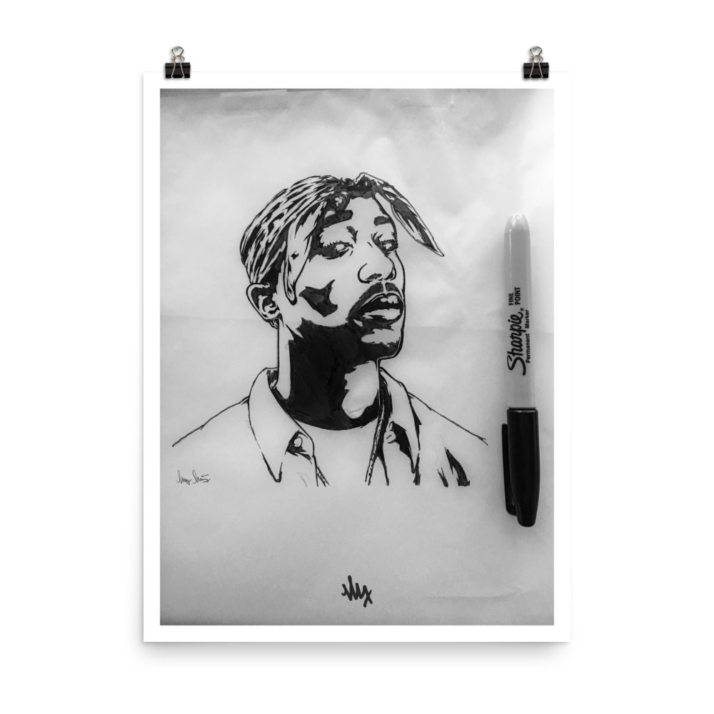 '2Pac' - Tupac Portrait Sketch by MxMnr - Ink on Paper