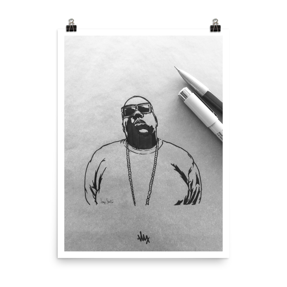 'Biggie' - Notorious BIG Portrait Sketch by MxMnr - Ink on Paper