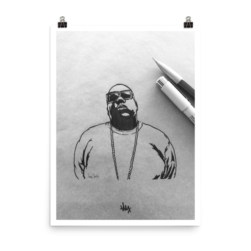 'Biggie' - Notorious BIG Portrait Sketch by MxMnr - Ink on Paper