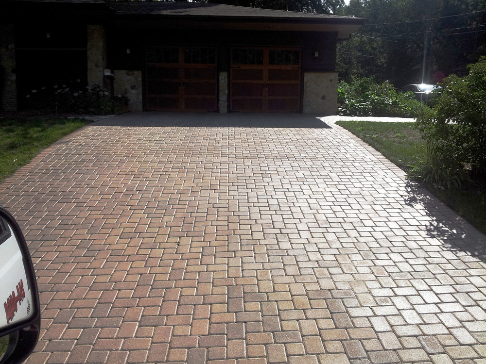 Stunning brick pavers for new driveway in Madison WI