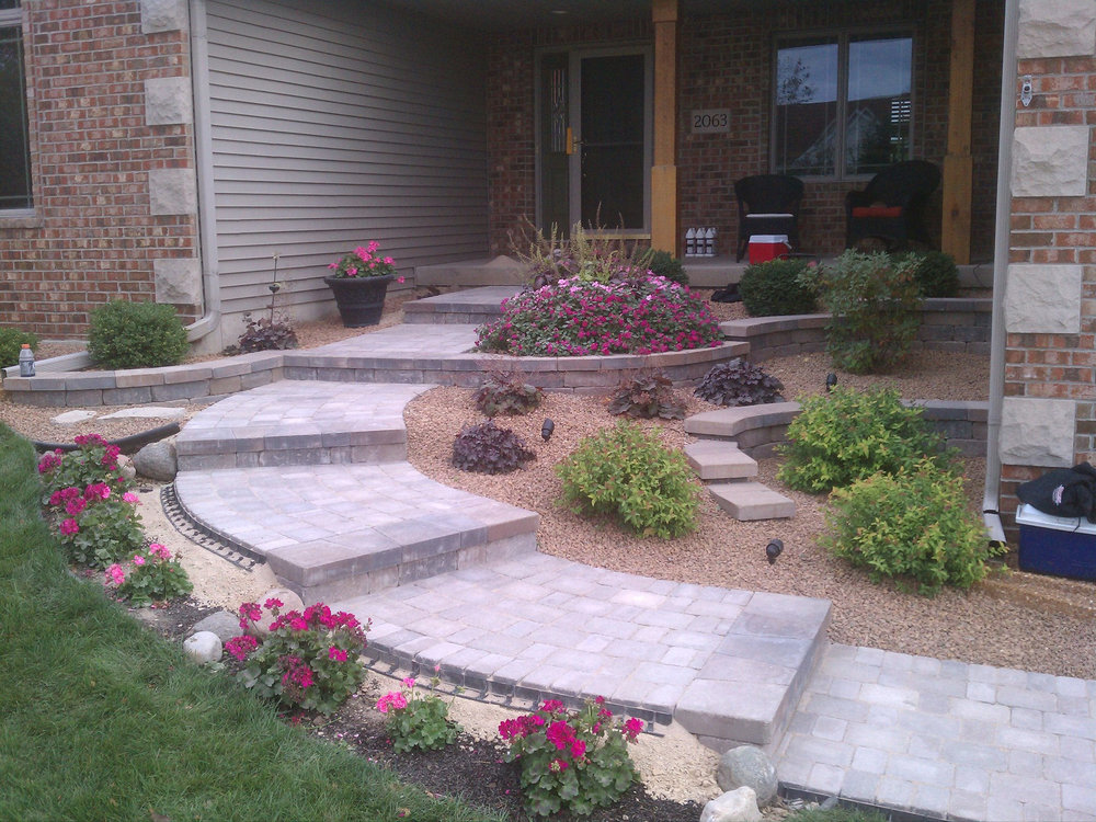 Front entryway look improved with plantings in Madison WI