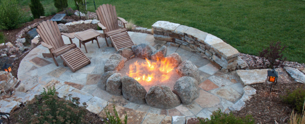"Unique styling brings the ""campfire"" appeal home in this custom fire pit."