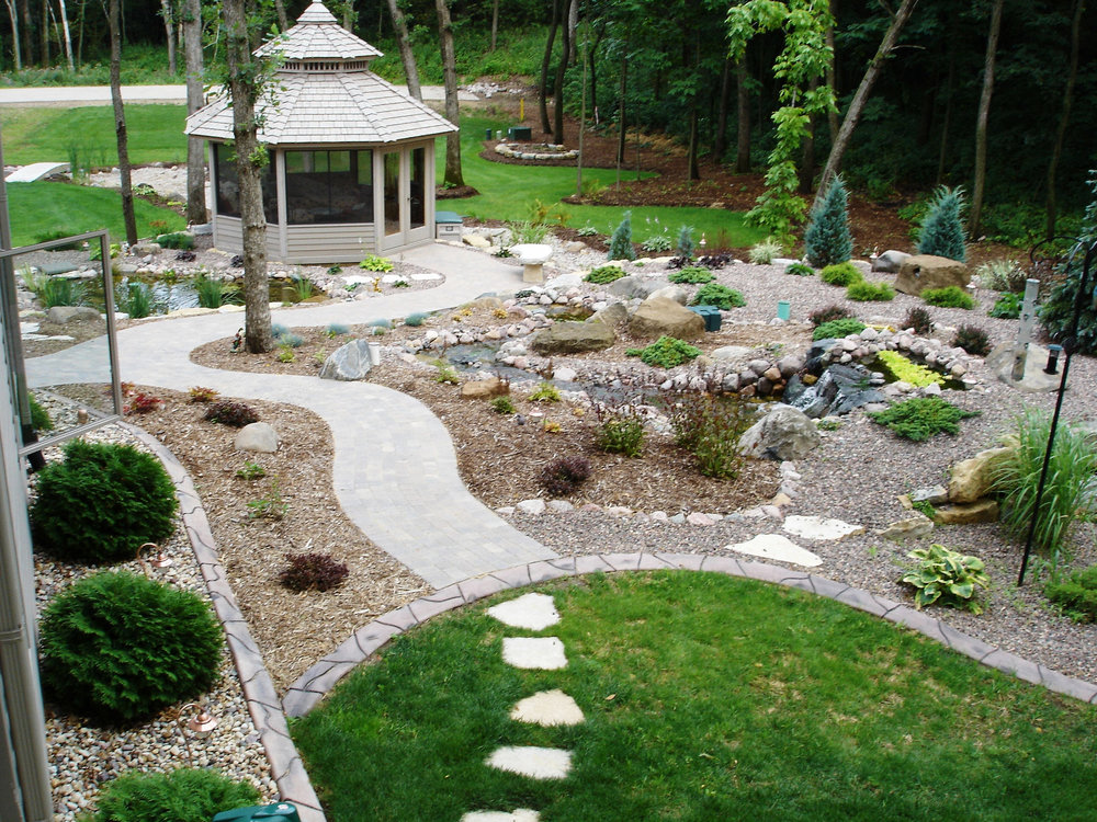 Pond and pondless waterfall in McFarland, WI