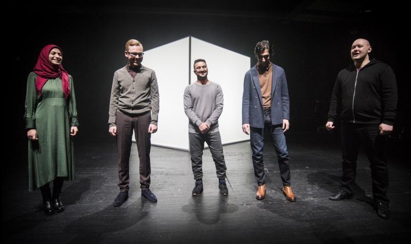 Vsevolod Chernozub (middle-left)   in   documentary performance  Dreamland