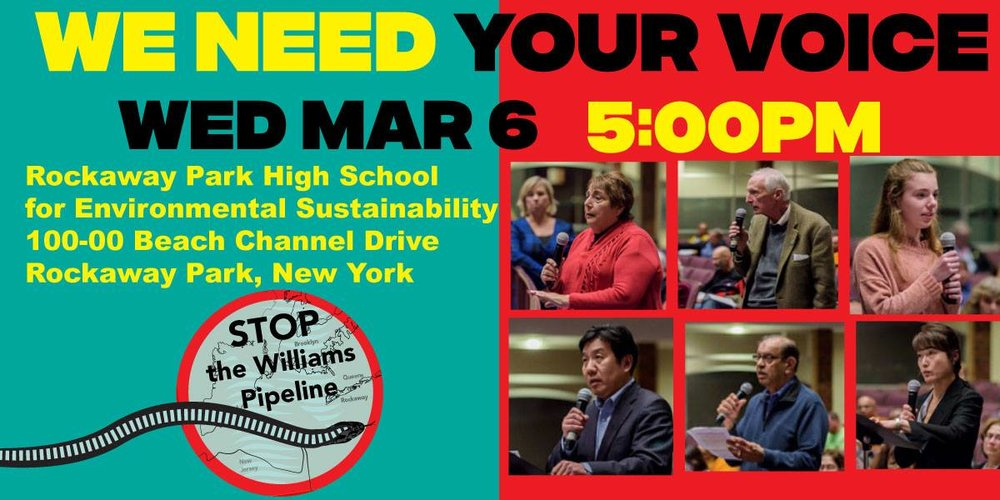 MAR 6: ANOTHER OPPORTUNITY TO testify! - DEC Public Hearings on the Williams NESE PipelineWe need all hands on deck at these public hearings Come out and raise your voice against this dangerous, unneeded, climate-wrecking project and help us stop it for good. We'll provide suggested talking points.Click here to: RSVP and get MORE INFO